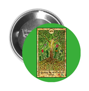Round Pinback Button Pin Brooch Simple Tarot Card Cartoon Icon - Queen of Pentacles - Green