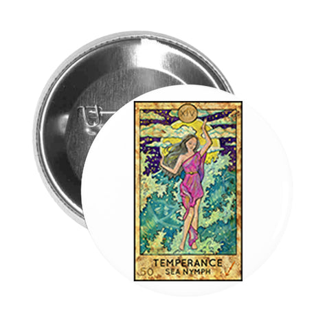 Round Pinback Button Pin Brooch Simple Tarot Card Cartoon Icon - Temperance Sea Nymph