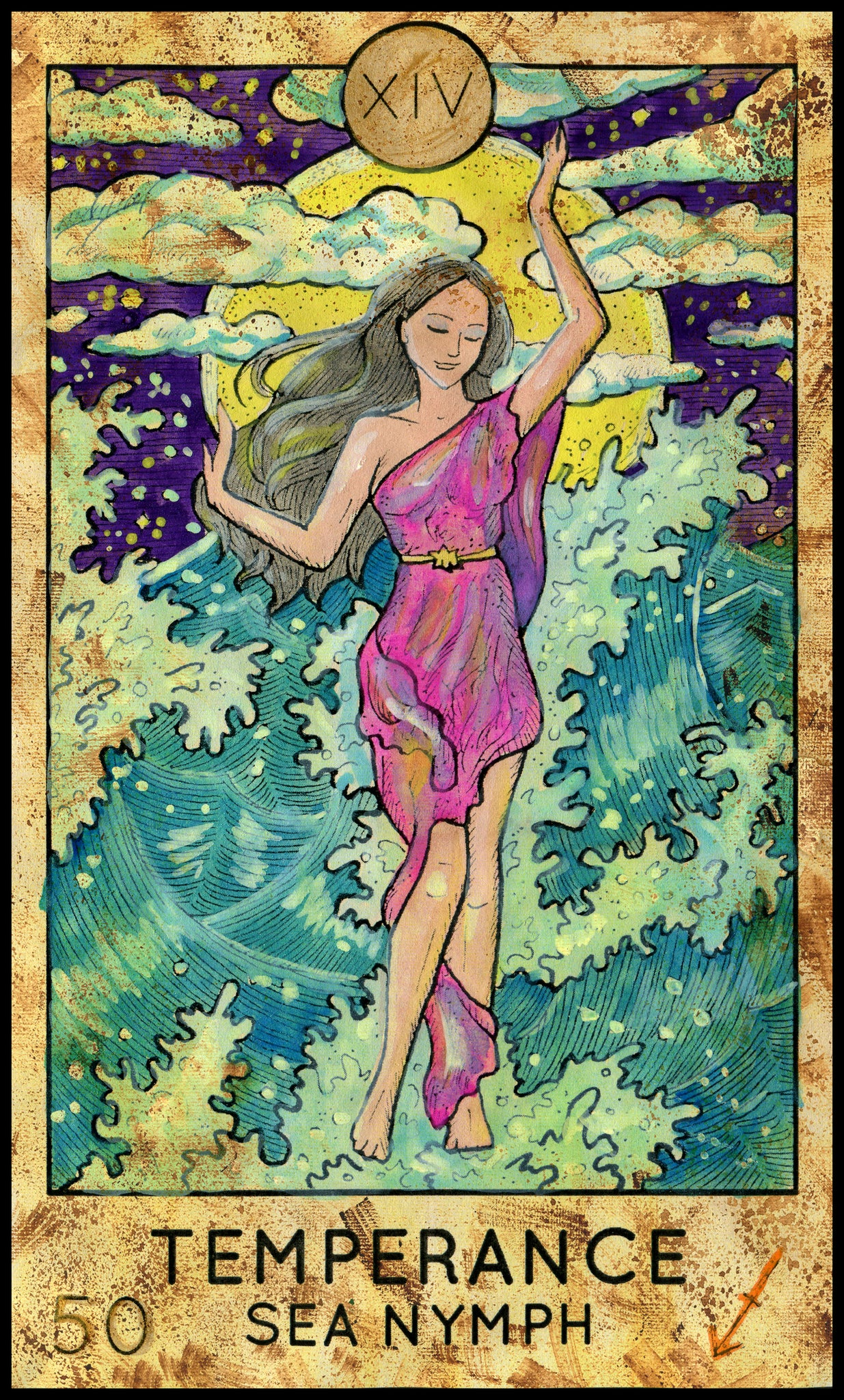 Simple Tarot Card Cartoon Icon - Temperance Sea Nymph Vinyl Decal Sticker