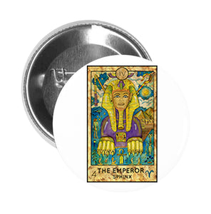Round Pinback Button Pin Brooch Simple Tarot Card Cartoon Icon - The Emperor Sphinx