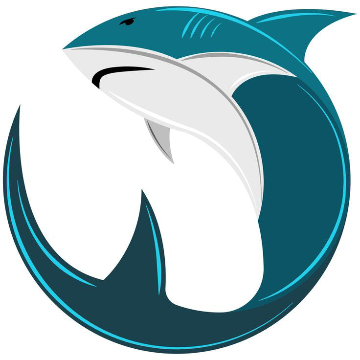 Simple Teal Shark Circle Round Icon Vinyl Decal Sticker