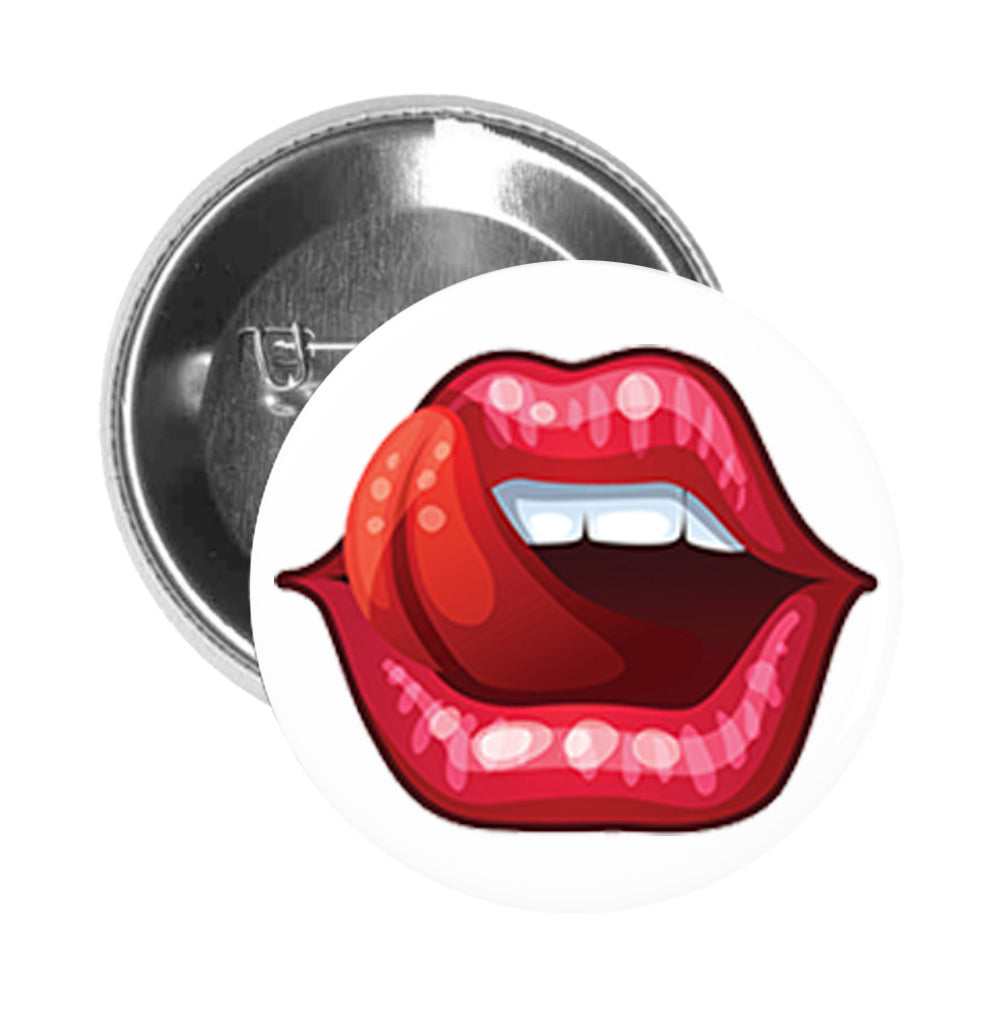 Round Pinback Button Pin Brooch Simple Tongue Lick Luscious Shiny Red Lips Cartoon Emoji