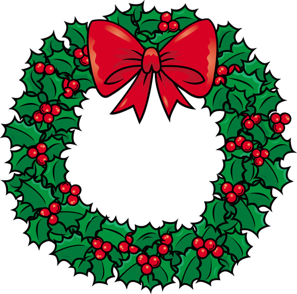 Simple Traditional Christmas Holiday Holly Wreath Cartoon Vinyl Decal Sticker