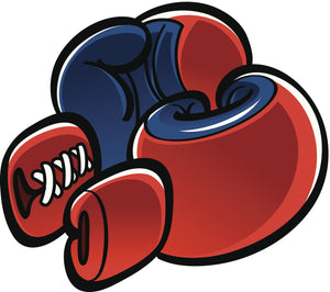 Simple Vintage Classic Blue Red Boxing Gloves Cartoon Emoji Vinyl Decal Sticker