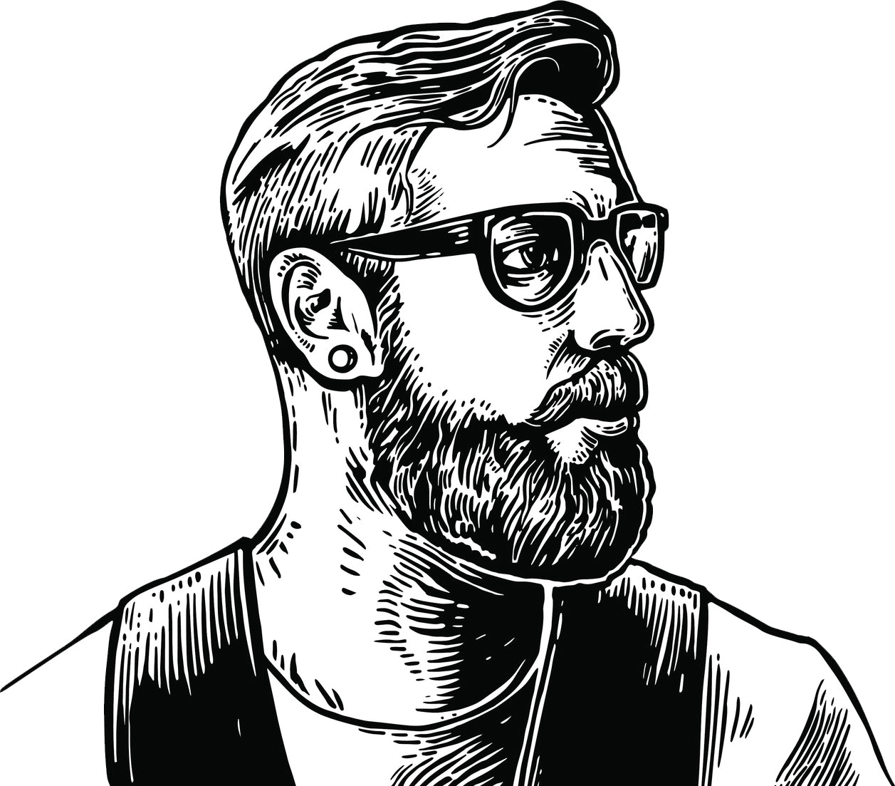 Simple Vintage Hipster Man Pen Sketch Art Vinyl Decal Sticker