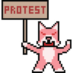 Simple Vintage Pixelated Animal Protester with Sign Cartoon Vinyl Decal Sticker