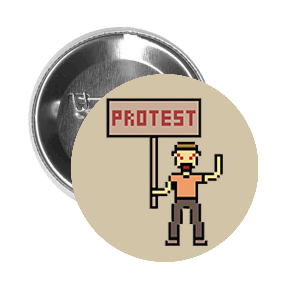 Round Pinback Button Pin Brooch Simple Vintage Pixelated Protester with Sign Cartoon - Beige