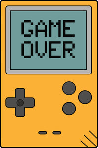 Simple Vintage Retro Gameboy Videogame Cartoon Icon - Game Over Vinyl Decal Sticker