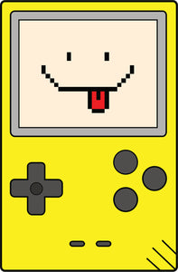 Simple Vintage Retro Gameboy Videogame Cartoon Icon - Happy Face Vinyl Decal Sticker