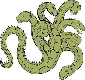 Simple Vintage Retro Green Hydra Snake Cartoon Vinyl Decal Sticker