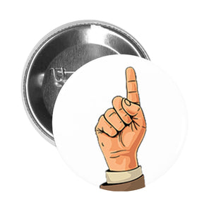 Round Pinback Button Pin Brooch Simple Vintage Retro Hand Sign Symbol Cartoon Drawing - Point