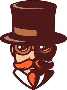 Simple Vintage Retro Man in Top Hat Cartoon Emoji Vinyl Decal Sticker