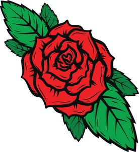 Simple Vintage Retro Rose Flower Tattoo Style Cartoon Art Vinyl Decal Sticker