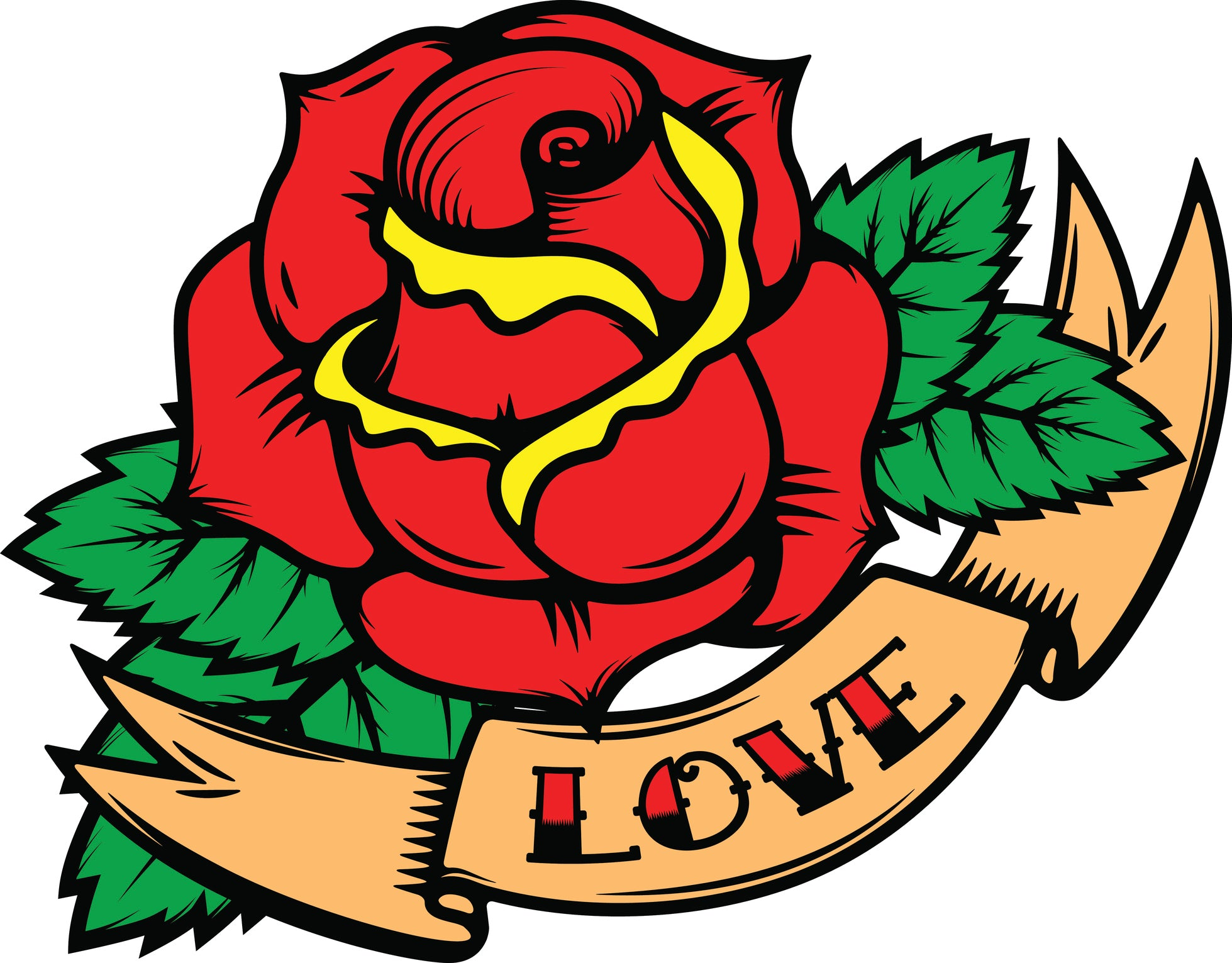 Simple Vintage Retro Rose Tattoo Style with Love Banner Cartoon Art Vinyl Decal Sticker