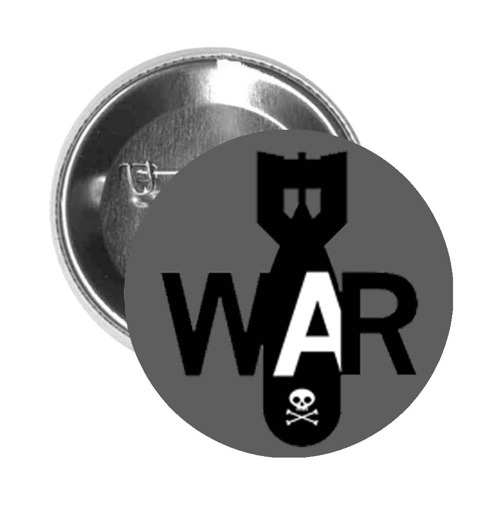 Round Pinback Button Pin Brooch Simple War Missile Bomb Cartoon Icon - Grey