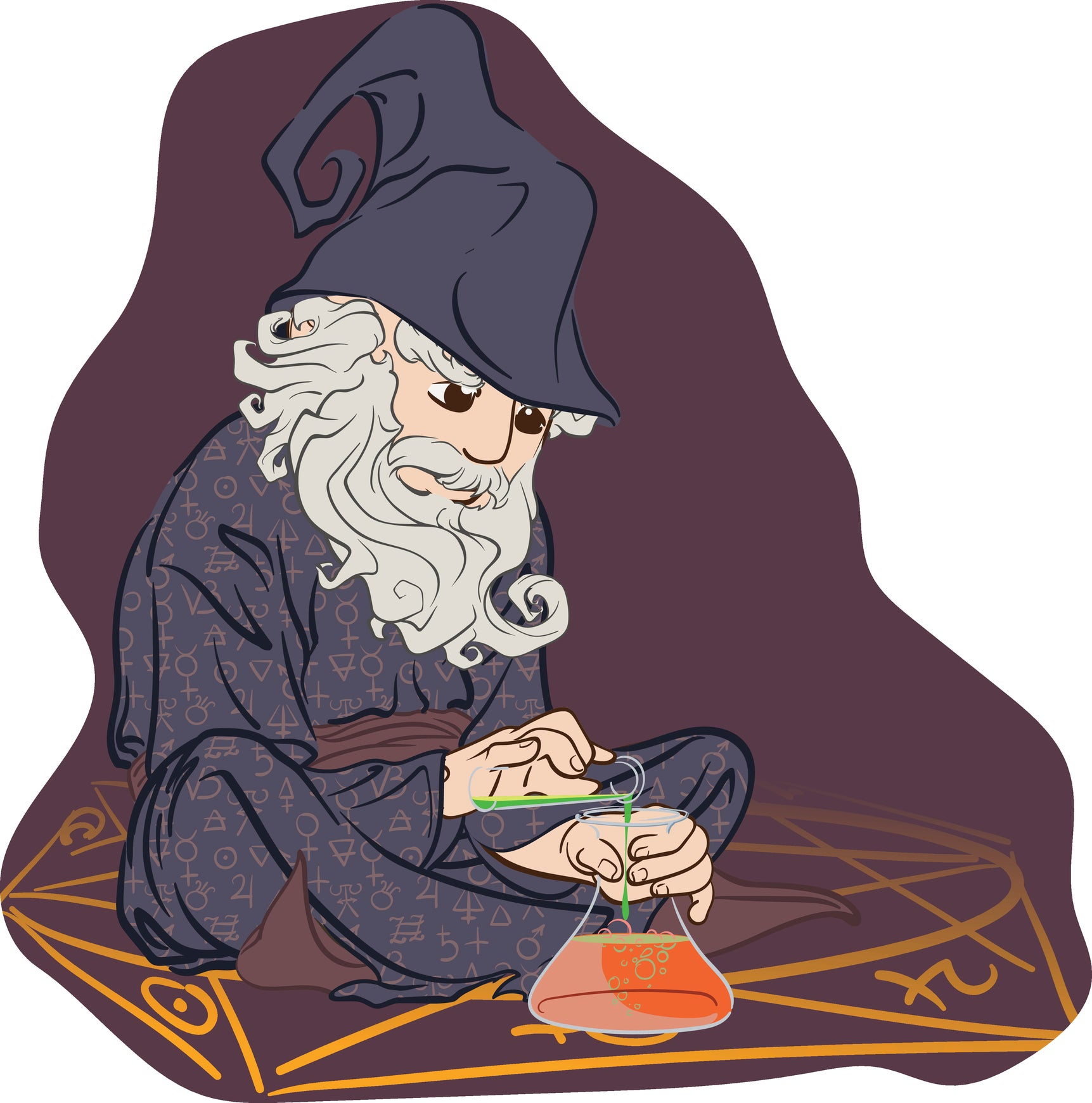 Simple Wizard Apothecary Chemical Elixir Potion Cartoon Icon Vinyl Decal Sticker
