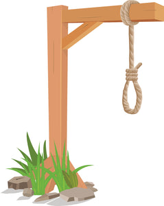 Simple Wooden Gallows Cartoon Vinyl Decal Sticker