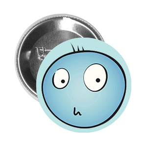 Round Pinback Button Pin Brooch Simple Worried Blue Emoji Face Cartoon - Teal