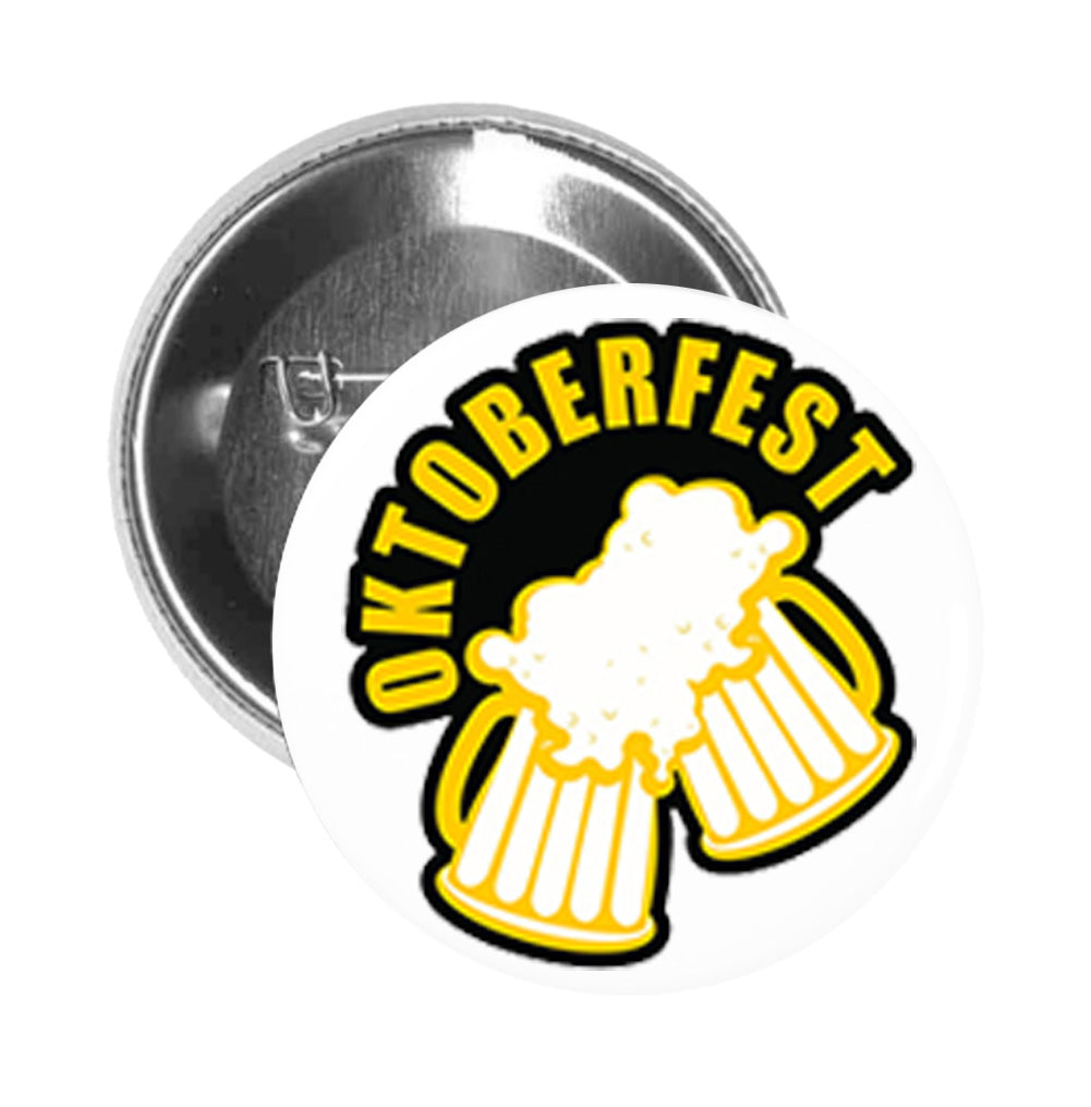 Round Pinback Button Pin Brooch Simple Yellow Black Oktoberfest Icon Logo