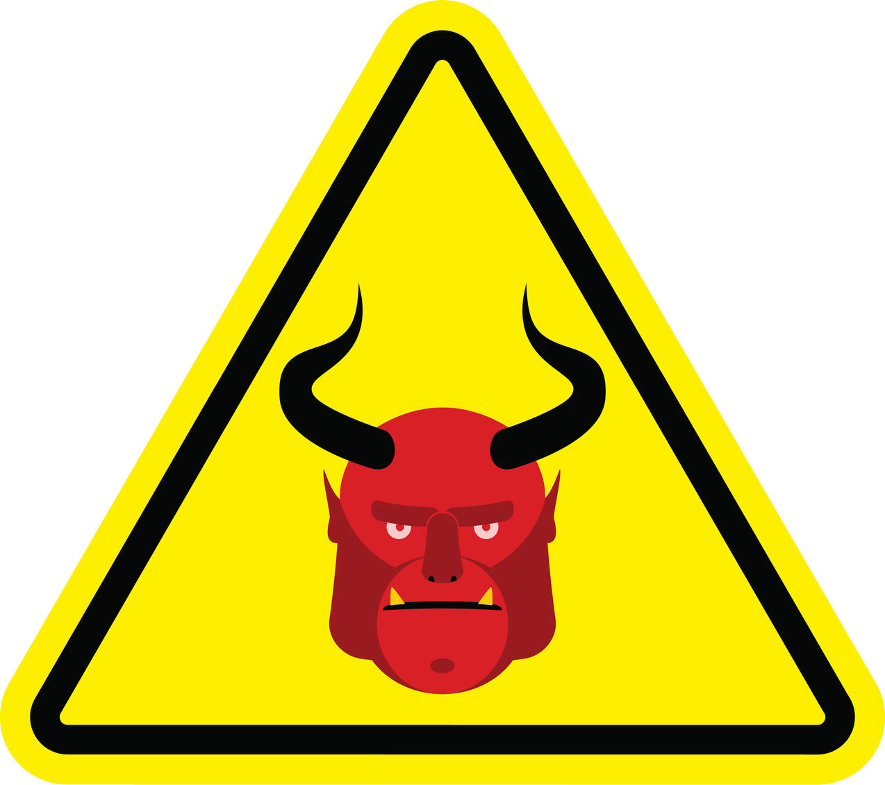 Simple Yellow Crossing Yield Triangle Sign - Demon Devil Vinyl Decal Sticker