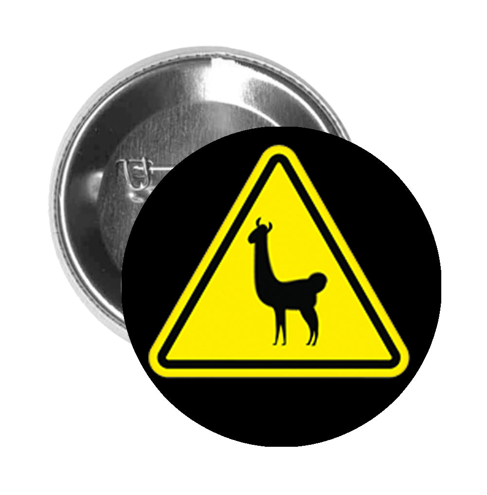 Round Pinback Button Pin Brooch Simple Yellow Crossing Yield Triangle Sign - Llama Alpaca - Black