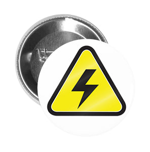Round Pinback Button Pin Brooch Simple Yellow Triangle Sign Symbol Icon - High Voltage