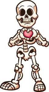 Skeleton Love Heart Happy Relationship Cartoon Vinyl Decal Sticker