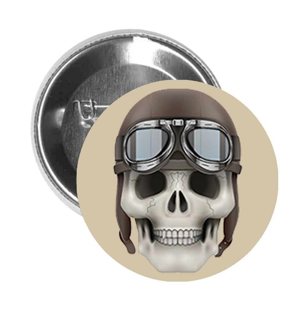 Round Pinback Button Pin Brooch Skeleton Skull Head Icon - Aviator Hat and Goggles - Beige