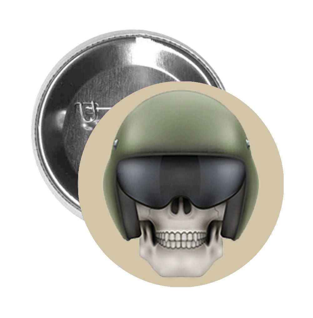 Round Pinback Button Pin Brooch Skeleton Skull Head Icon - Military Green Motorcycle Helmet - Beige