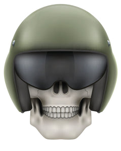 Skeleton Skull Head Icon - Military Green Motorcycle Helmet Vinyl Decal Sticker