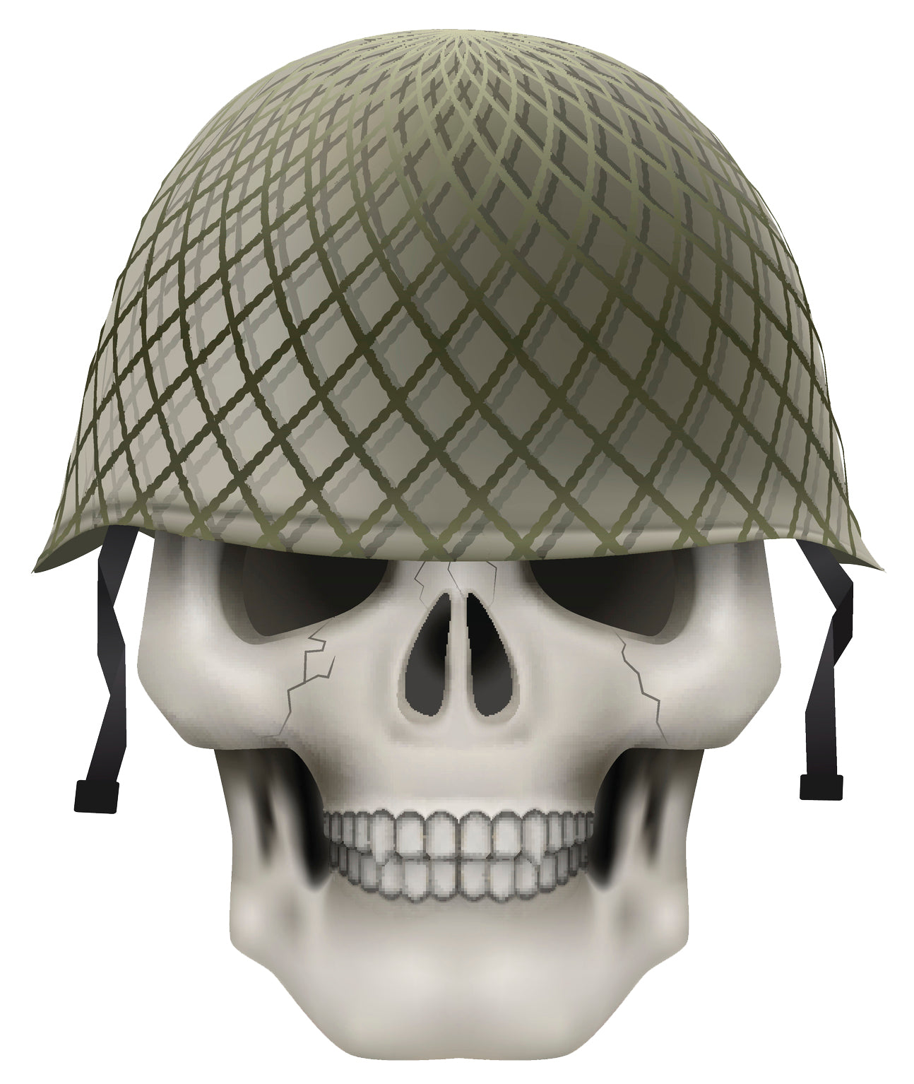 Skeleton Skull Head Icon - Military Green Soldier Helmet Vinyl Decal Sticker