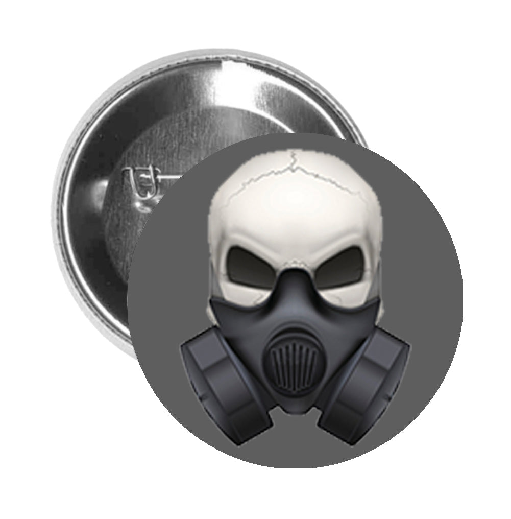 Round Pinback Button Pin Brooch Skeleton Skull Head Icon - Safety Gas Mask - Grey