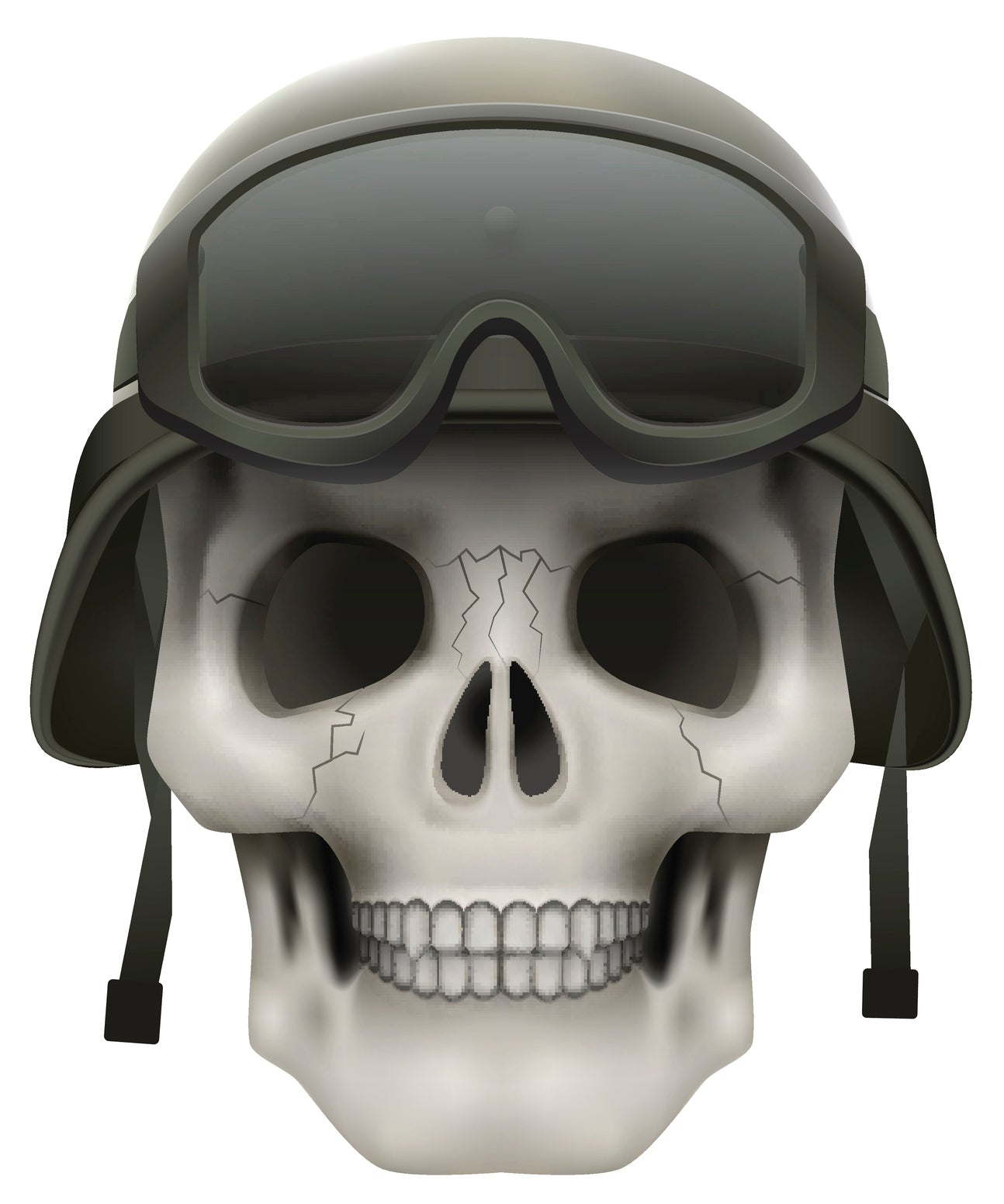 Skeleton Skull Head Icon - Snow Winter Sport Goggles and Hat Vinyl Decal Sticker