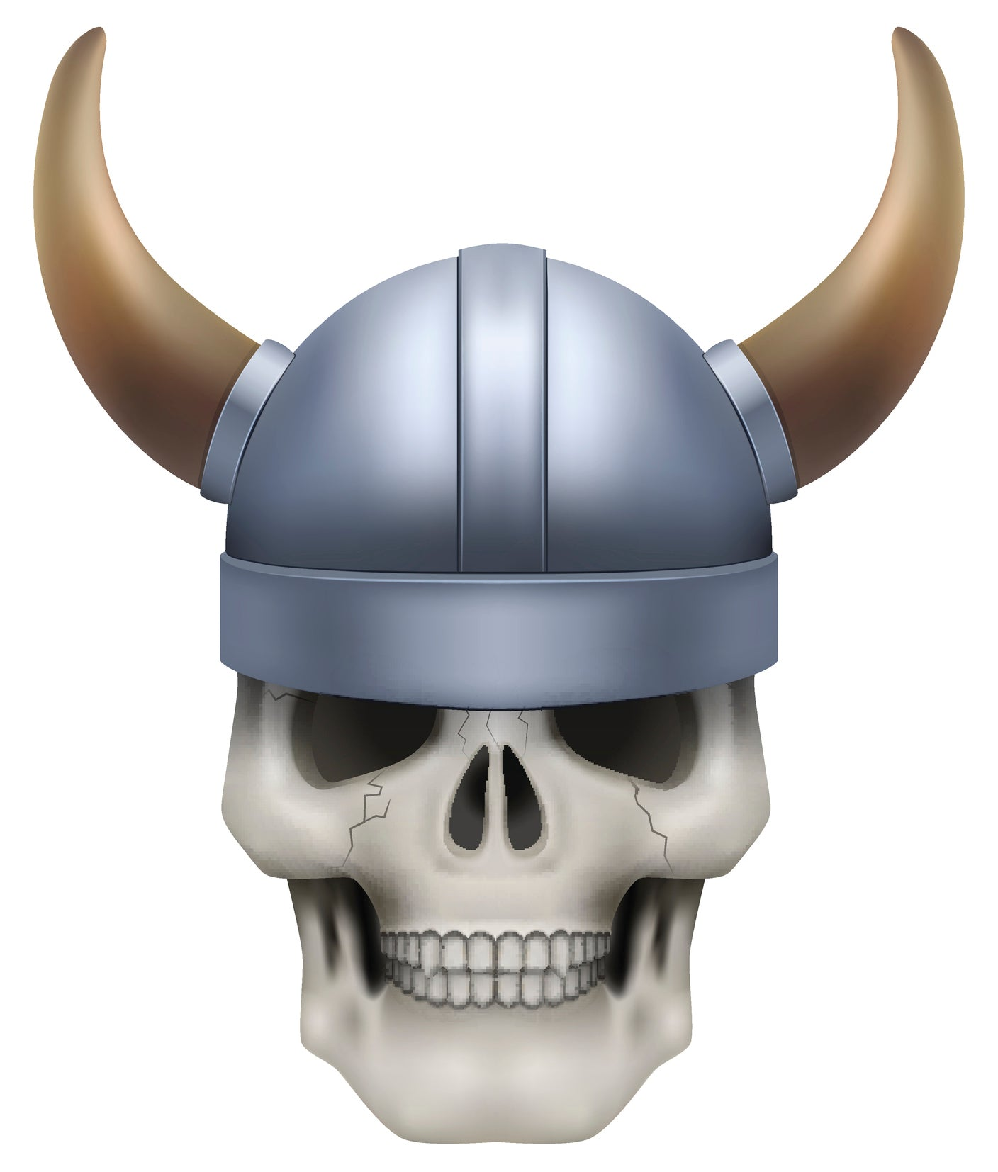 Skeleton Skull Head Icon - Viking Helmet Vinyl Decal Sticker