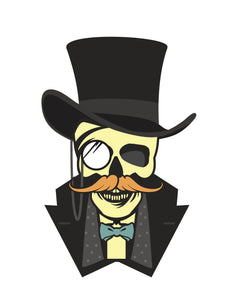 Skull Man with Mustache and Top Hat Vinyl Decal Sticker