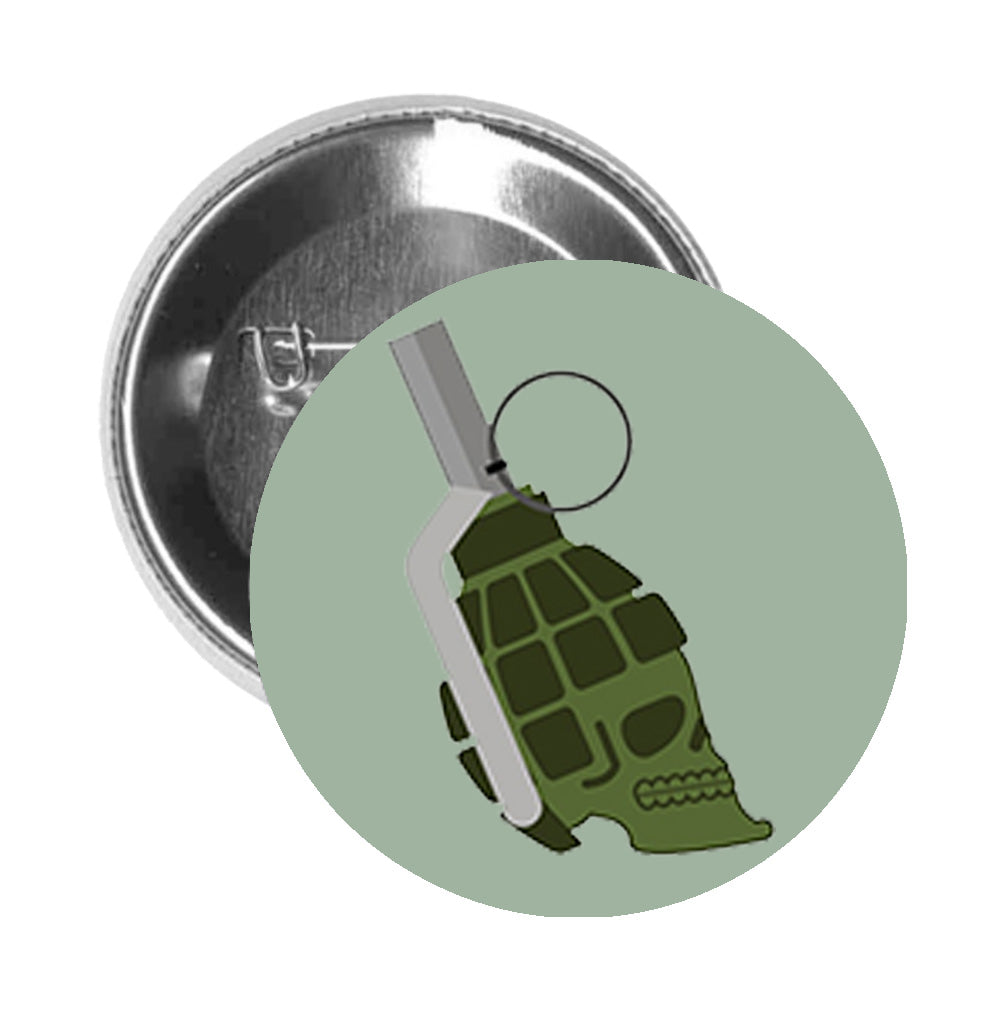 Round Pinback Button Pin Brooch Skull Shaped Military Green Pinned Grenade - Sage