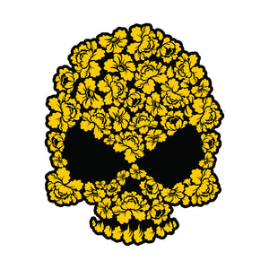 Skull Silhouette Made of Yellow Flowers Vinyl Decal Sticker