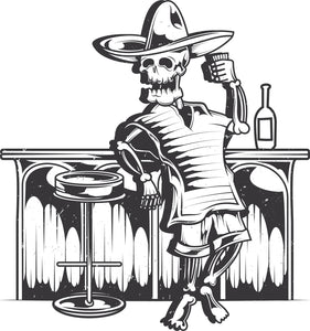 Skull Standing at Bar Poncho Sombrero Drink Alcohol Tequila Cocktail Pub Cartoon Vinyl Decal Sticker