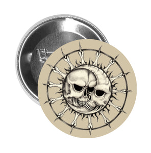 Round Pinback Button Pin Brooch Skull Sun and Moon Icon - Beige