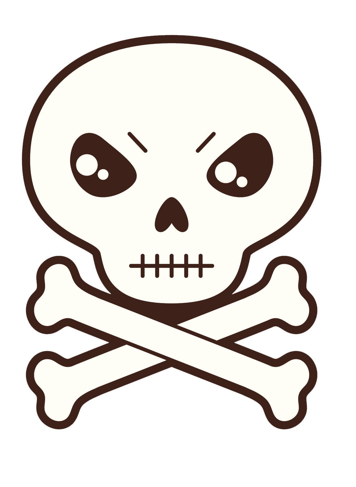 Skull and Cross Bones  Cartoon - Stern Icon Vinyl Decal Sticker