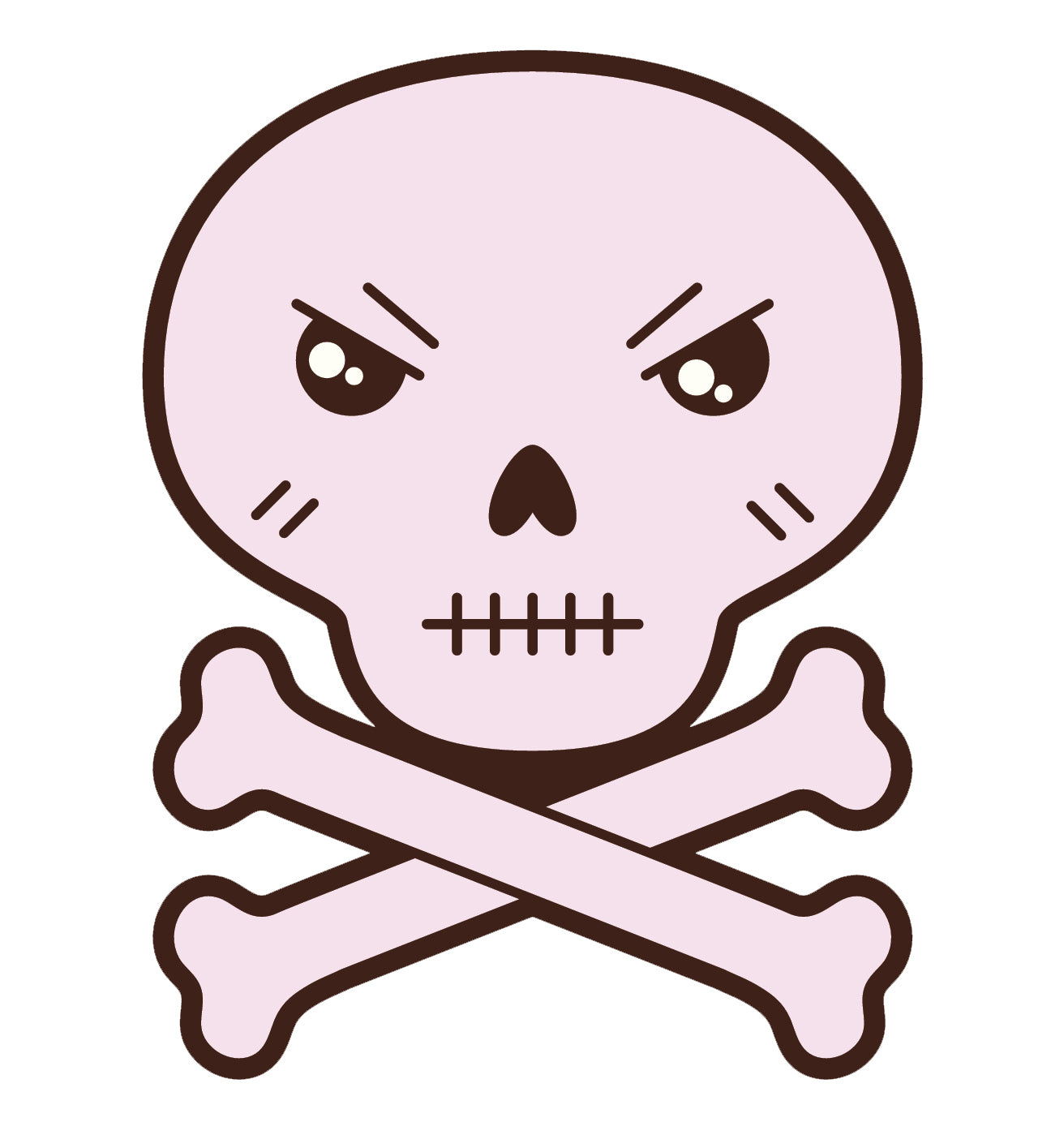 Skull and Cross Bones  Cartoon Icon - Angry Vinyl Decal Sticker