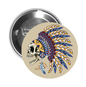 Round Pinback Button Pin Brooch Skull with Colorful Feather Headdress and Earrings - Beige