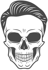 Skull with Suave Combover Vinyl Decal Sticker