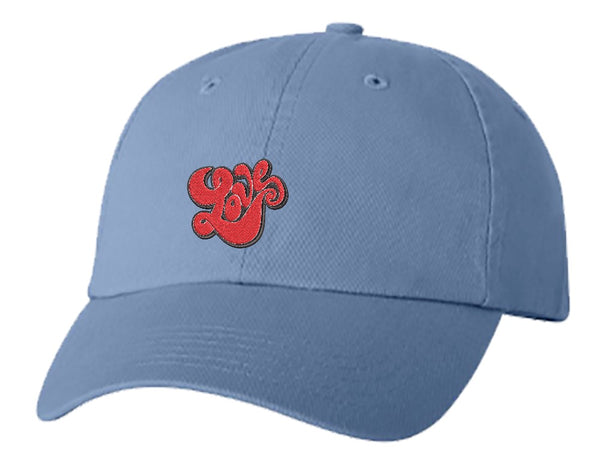 Unisex Adult Washed Dad Hat Simple Red Retro Love Bubble Letter Embroidery Sketch Design