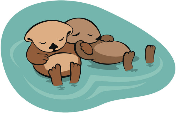 Sleeping Sea Otter Couple Watercolor Cartoon Vinyl Decal Sticker