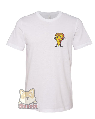 Small & Extra-Small Size Unisex Short-Sleeve T-Shirt with Happy Fast Food Emoji -  Pizza Cartoon Embroidery Sketch Design