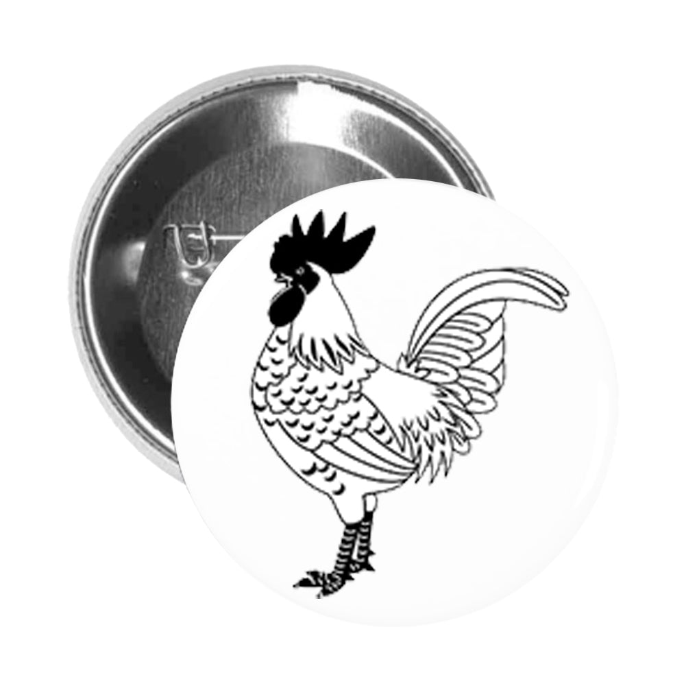 Round Pinback Button Pin Brooch Strong Black and White Rooster #2