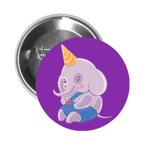 Round Pinback Button Pin Brooch Sweet Kids Nursery Pastel Elephant Cartoon - Birthday Hat - Purple