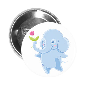 Round Pinback Button Pin Brooch Sweet Kids Nursery Pastel Elephant Cartoon - Blue Flower