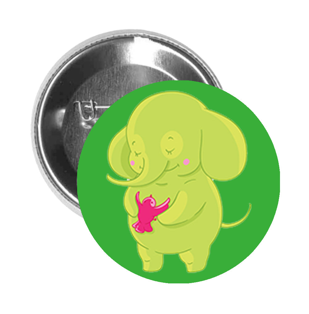 Round Pinback Button Pin Brooch Sweet Kids Nursery Pastel Elephant Cartoon - Green with Bird - Green